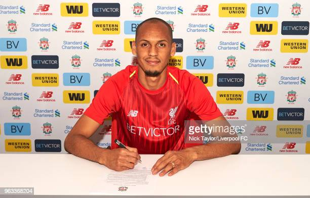 Fabinho signs for Liverpool Football Club at Melwood Training Ground on May 28 2018 in Liverpool England