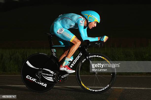 Fabio Aru of Italy and Astana in action during the twelfth stage of the 2014 Giro d'Italia a 42km Individual Time Trial stage between Barbarasco and...