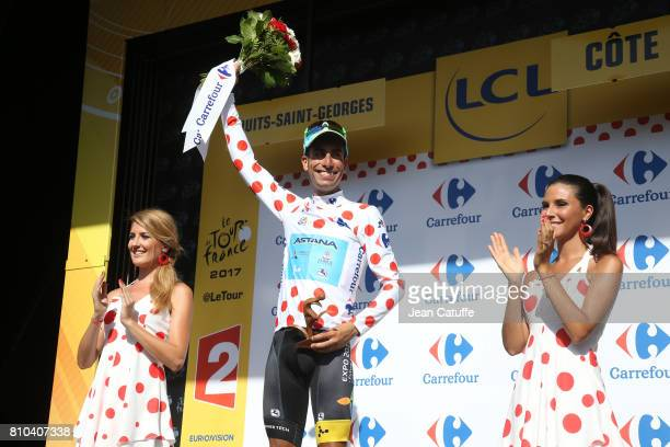 Fabio Aru of Italy and Team Astana retains the dot jersey of best climber after stage 7 of the Tour de France 2017, a stage between Troyes and...