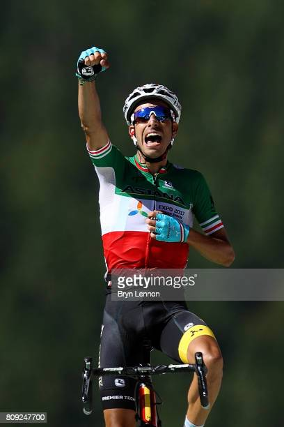 Fabio Aru of Italy and the Astana Pro Cycling team wins stage five of the 2017 Tour de France, a 160.5km road stage from Vittel to La Planche des...