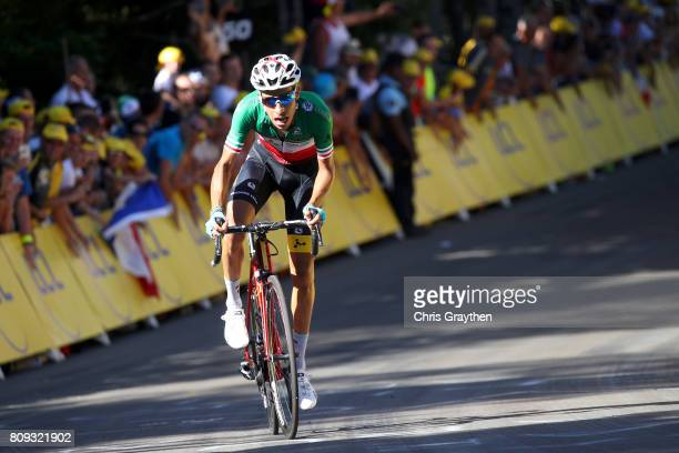 Fabio Aru of Italy riding for Astana Pro Team rides solo on way to winning stage five of the 2017 Le Tour de France, a 160.5km stage from Vittel to...