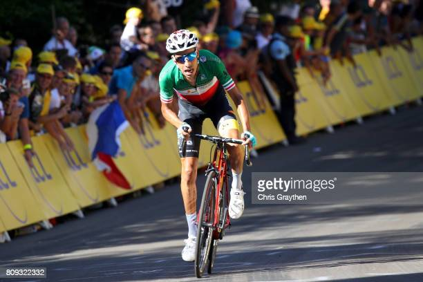 Fabio Aru of Italy riding for Astana Pro Team rides solo on way to winning stage five of the 2017 Le Tour de France a 1605km stage from Vittel to La...