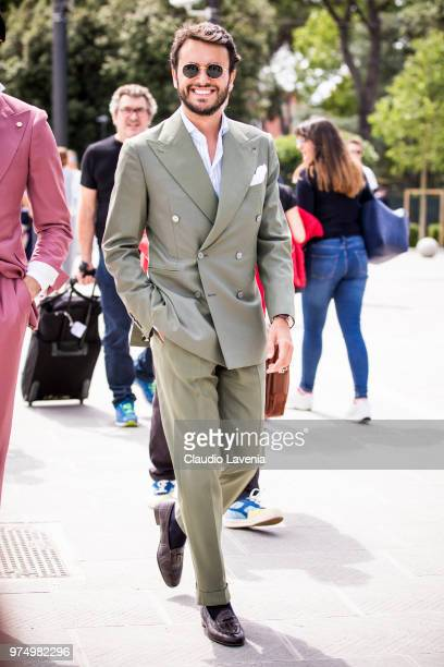 Fabio Attanasio, wearing a suit, is seen during the 94th Pitti Immagine Uomo at Fortezza Da Basso on June 14, 2018 in Florence, Italy.