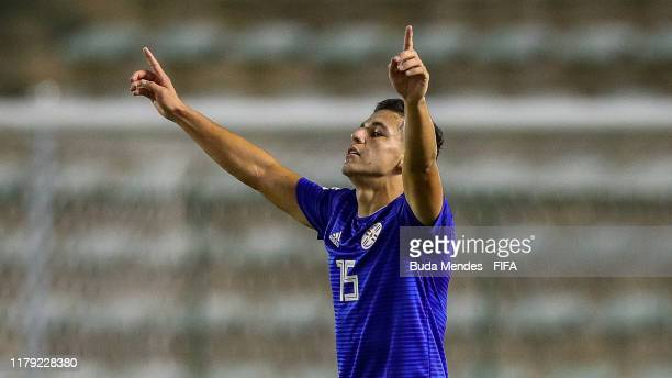 Fabio Barrios of Paraguay celebrates a scored goal during the FIFA U-17 Men's World Cup Brazil 2019 group F match between Solomon Islands and...