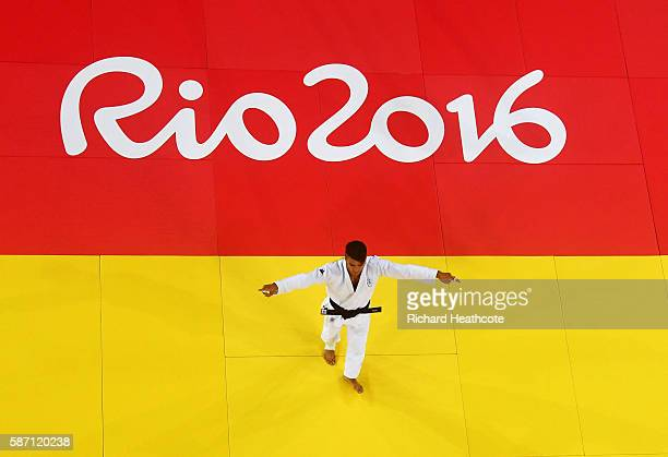 Fabio Basile of Italy celebrates victory over Adrian Gomboc of Slovenia during the Men's 66kg semi final on Day 2 of the Rio 2016 Olympic Games at...