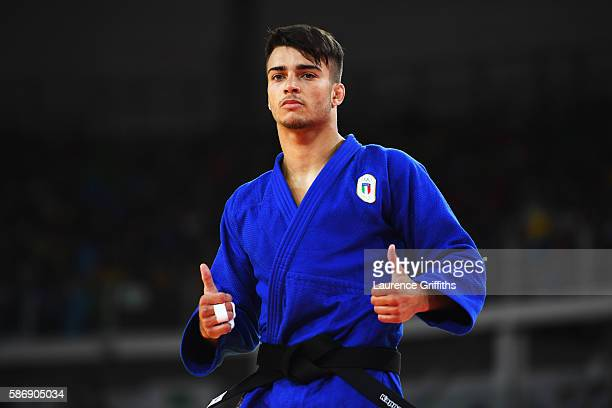 Fabio Basile of Italy gives a thumbs up during the Men's 66kg Elimination round of 16 contest against Nijat Shikhalizada of Azerbaijan on Day 2 of...