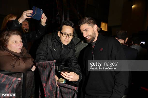 Fabio Borini attends DIESEL X AC MILAN SPECIAL COLLECTION on January 18 2018 in Milan Italy