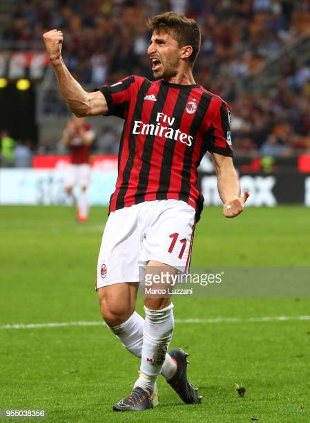 Fabio Borini of AC Milan celebrates his goal during the serie A match between AC Milan and Hellas Verona FC at Stadio Giuseppe Meazza on May 5 2018...