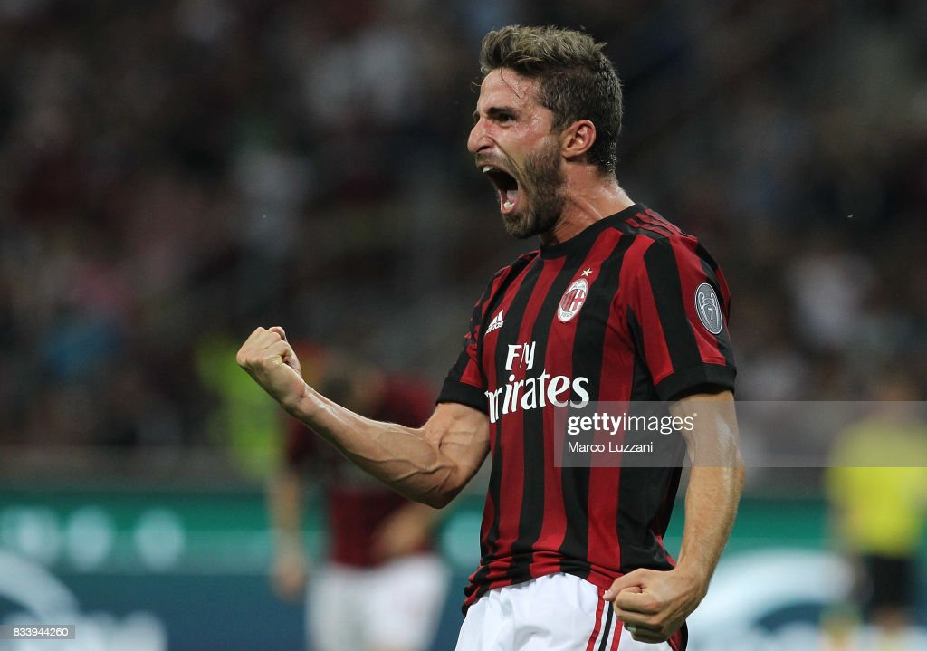 Fabio Borini of AC Milan celebrates his goal during the UEFA Europa League Qualifying Play-Offs round first leg match between AC Milan and KF Shkendija 79 at Stadio Giuseppe Meazza on August 17, 2017 in Milan, Italy.