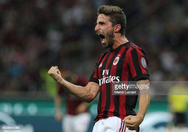 Fabio Borini of AC Milan celebrates his goal during the UEFA Europa League Qualifying PlayOffs round first leg match between AC Milan and KF...