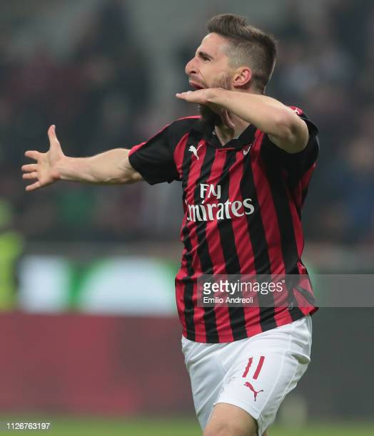 Fabio Borini of AC Milan celebrates his goal that will be disallowed from VAR during the Serie A match between AC Milan and Empoli at Stadio Giuseppe...