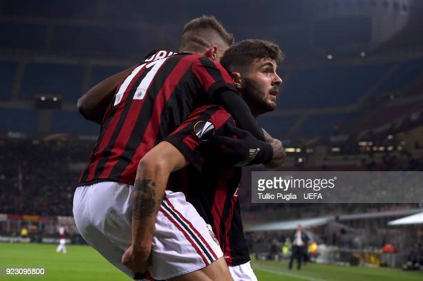 Fabio Borini of AC Milan celebrates with team mate Patrick Cutrone after scoring the opening goal during UEFA Europa League Round of 32 match between...