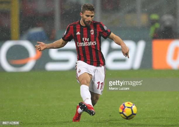 Fabio Borini of AC Milan in action during the Serie A match between AC Milan and Bologna FC at Stadio Giuseppe Meazza on December 10 2017 in Milan...