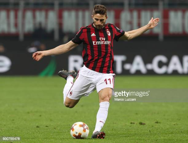 Fabio Borini of AC Milan in action during UEFA Europa League Round of 16 match between AC Milan and Arsenal at the San Siro on March 8 2018 in Milan...