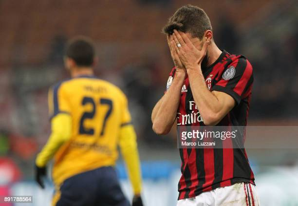 Fabio Borini of AC Milan reacts to a missed chance during the Tim Cup match between AC Milan and Hellas Verona FC at Stadio Giuseppe Meazza on...