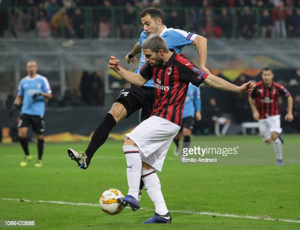 Fabio Borini of AC Milan scores his goal during the UEFA Europa League Group F match between AC Milan and F91 Dudelange at Stadio Giuseppe Meazza on...