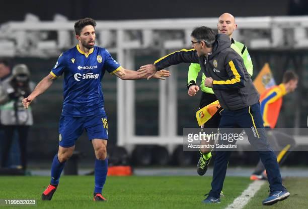 Fabio Borini of Hellas Verona celebrates after scoring the 11 goal during the Serie A match between Hellas Verona and Juventus at Stadio Marcantonio...