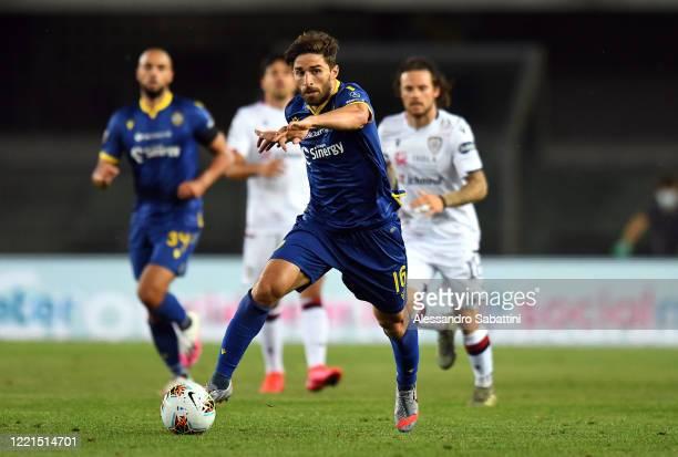 Fabio Borini of Hellas Verona in action during the Serie A match between Hellas Verona and Cagliari Calcio at Stadio Marcantonio Bentegodi on June 20...
