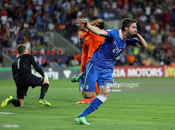 Fabio Borini of Italycelebrates scring the first goal during the UEFA European U21 Championships, Semi- Final match between Italy and the Netherlands...