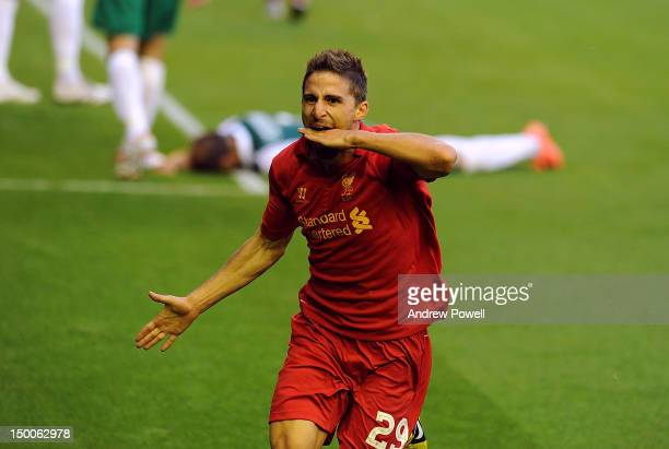 Fabio Borini of Liverpool celebrates his goal during the UEFA Europa League Third Round Qualifier between Liverpool and Gomel at Anfield on August 9,...