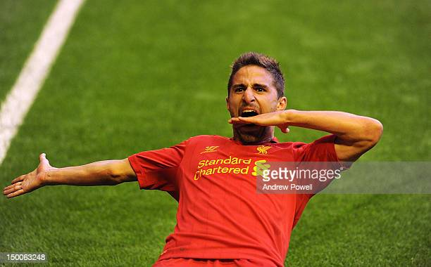 Fabio Borini of Liverpool celebrates his goal during the UEFA Europa League Third Round Qualifier between Liverpool and Gomel at Anfield on August 9...