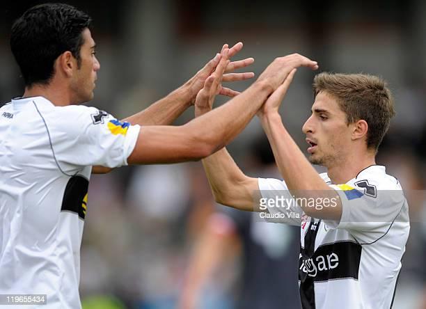 Fabio Borini of Parma FC celebrates scoring the second goal during a preseason friendly match between Parma FC and PFC Ludogorets Razgrad on July 23...