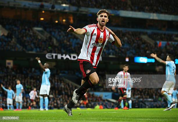 Fabio Borini of Sunderland celebrates after scoring his team's first goal during the Barclays Premier League match between Manchester City and...