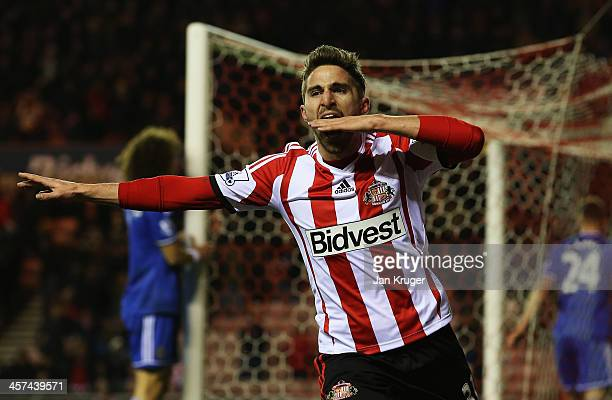 Fabio Borini of Sunderland celebrates as he scores their first goal during the Capital One Cup QuarterFinal match between Sunderland and Chelsea at...