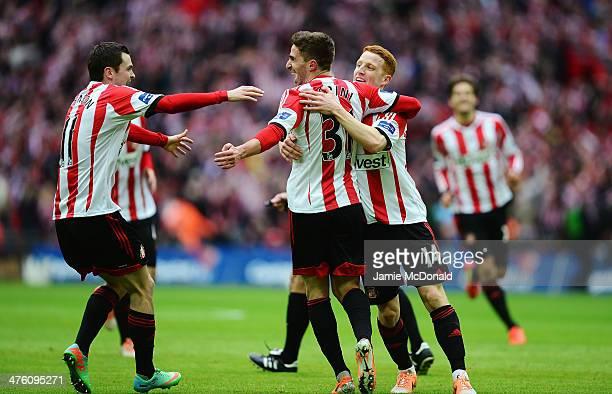 Fabio Borini of Sunderland celebrates scoring the opening goal with Adam Johnson and Jack Colback of Sunderland during the Capital One Cup Final...