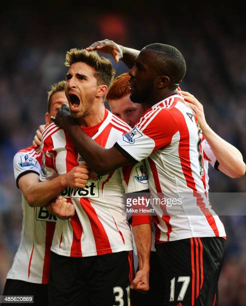Fabio Borini of Sunderland celebrates with team mates after scoring his sides second goal from the penalty spot during the Barclays Premier League...