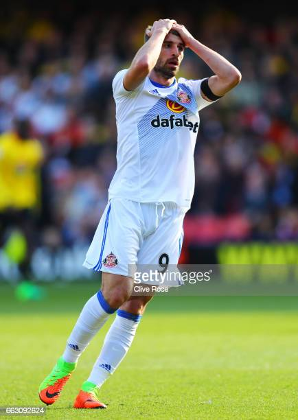 Fabio Borini of Sunderland reacts during the Premier League match between Watford and Sunderland at Vicarage Road on April 1 2017 in Watford England