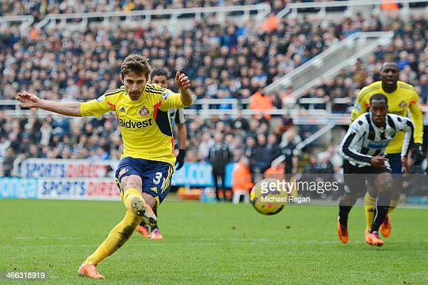 Fabio Borini of Sunderland scores his team's opening goal from the penalty spot during the Barclays Premier League match between Newcastle United and...