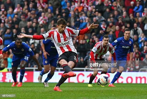 Fabio Borini of Sunderland scores the second goal from the penalty spot during the Barclays Premier League match between Sunderland and Cardiff City...