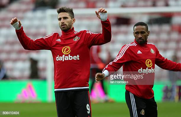 Fabio Borini takes part in warm up during the Barclays Premier League match between Sunderland and Bournemouth at The Stadium of Light on January 23...