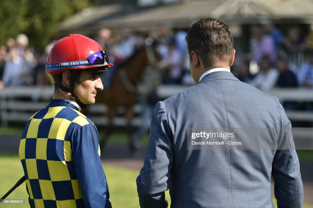 Fabio Branca and Stefano Botti in the paddock at the San Siro Racecourse on May 28, 2017 in Milan, Italy.