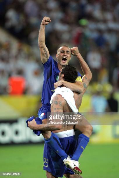 Fabio Cannavaro and Marco Materazzi of Italy celebrate the victory at the end the World Cup 2006 final football game Italy and France, 09 July 2006...