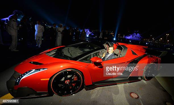 Fabio Cannavaro attends the Launch of New Lamborghini Veneno Roadster on board the Italian aircraft carrier Cavour on December 1 2013 in Abu Dhabi...