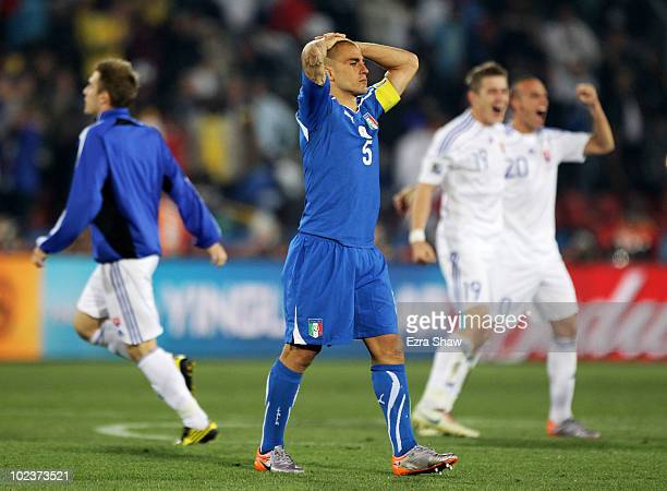 Fabio Cannavaro captain of Italy leaves the field dejected after being knocked out of the competition by Slovakia during the 2010 FIFA World Cup...