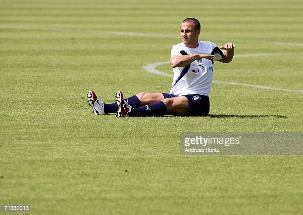 Fabio Cannavaro exercises during an Italy National Football Team training session on June 29, 2006 in Duisburg, Germany.