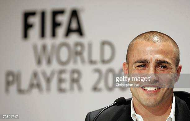 Fabio Cannavaro of Italy and Real Madrid speaks to the media during a press conference prior to the FIFA World Player of the Year Awards ceremony at...