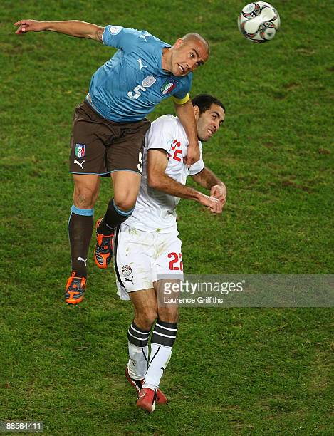 Fabio Cannavaro of Italy battles with Mohamed Aboutrika of Egypt during the FIFA Confederations Cup match between Egypt and Italy at Ellis Stadium on...