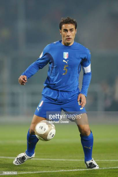 Fabio Cannavaro of Italy during the Euro 2008 Group B qualifying match between Italy and Faroe Islands at the Alberto Braglia Stadium on November...