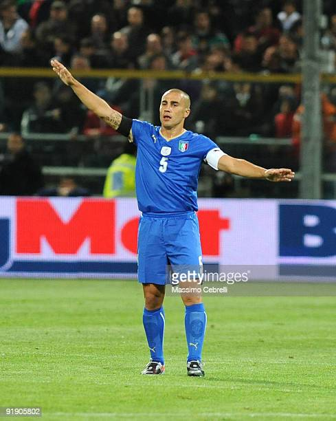 Fabio Cannavaro of Italy gestures during the FIFA 2010 World Cup European Qualifying match between Italy and Cyprus at StadioEnnio Tardini on October...