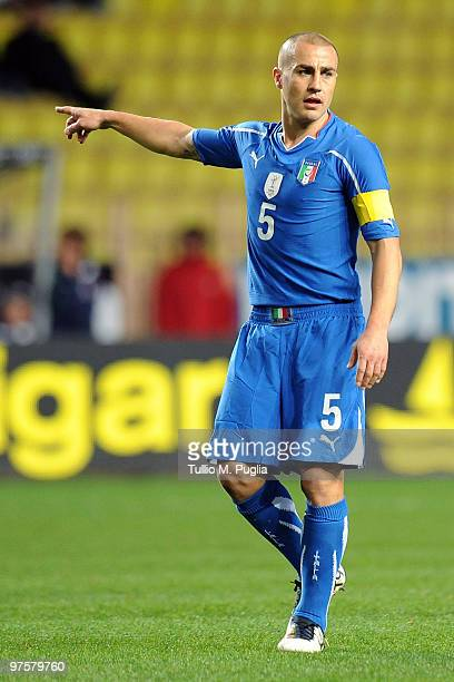 Fabio Cannavaro of Italy gestures during the International Friendly match between Italy and Cameroon at Louis II Stadium on March 3, 2010 in Monaco,...