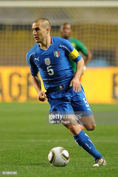 Fabio Cannavaro of Italy in action during the International Friendly match between Italy and Cameroon at Louis II Stadium on March 3, 2010 in Monaco,...