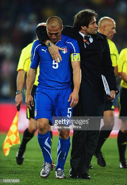 Fabio Cannavaro of Italy is dejected after the 2010 FIFA World Cup South Africa Group F match between Slovakia and Italy at Ellis Park Stadium on...
