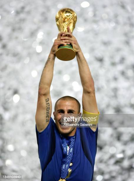 Fabio Cannavaro of Italy lift the trophy at the end the World Cup 2006 final football game Italy and France, 09 July 2006 at Berlin stadium. Italy...