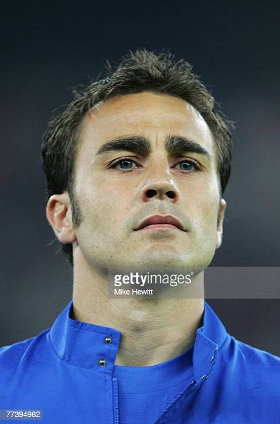 Fabio Cannavaro of Italy looks on prior to the Euro2008 Qualifier between Italy and Scotland at the San Nicola stadium on March 28 2007 in Bari Italy
