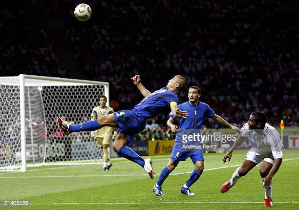 Fabio Cannavaro of Italy makes an overhead clearance during the FIFA World Cup Germany 2006 Final match between Italy and France at the Olympic...