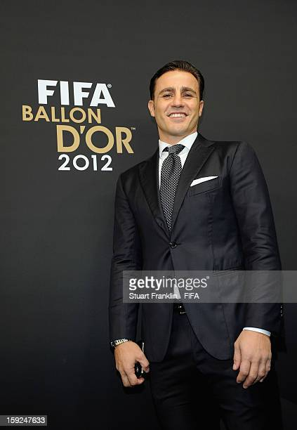 Fabio Cannavaro of Italy psoes for photographs on the red carpet during the FIFA Ballon d'Or Gala 2012 at the Kongresshaus on January 7, 2013 in...